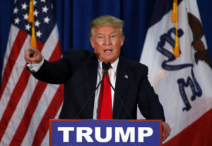 Republican presidential candidate Donald Trump speaks during a campaign event at the University of Iowa Field House, Tuesday, Jan. 26, 2016 in Iowa City, Iowa. (AP Photo/Paul Sancya)